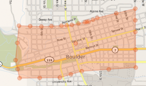 Downtown Boulder Area Boundaries for this Real Estate Sales Data Set